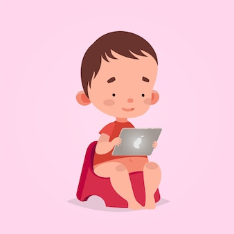 Cute vector illustration for children. cartoon style. isolated character. modern technologies for kids. baby toddler boy with tablet. Premium Vector