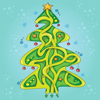 Cute vector illustration of education maze or labyrinth game - new year tree