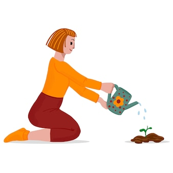 Cute vector illustration in a flat style. a pretty girl waters a sprout.
