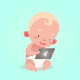 子供のためのかわいいベクトルイラスト。漫画のスタイル。孤立したキャラクター。子供のための最新技術。タブレットを持つ赤ちゃんの幼児の男の子。