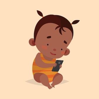 子供のためのかわいいベクトルイラスト。漫画のスタイル。孤立したキャラクター。子供のための最新技術。スマートフォンを持つ赤ちゃんの幼児の女の子。