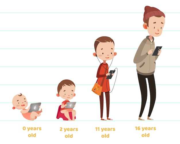 어린이위한 귀여운 벡터 일러스트입니다. 만화 스타일. 격리 된 문자. 아이들을위한 현대 기술. 다른 나이에 단계를 자라는 소년. 스마트 폰, 태블릿.