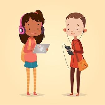 子供のためのかわいいベクトルイラスト。漫画のスタイル。孤立したキャラクター。子供のための最新技術。タブレットとヘッドフォンを持つ少女。スマートフォンとヘッドフォンを持つ少年。