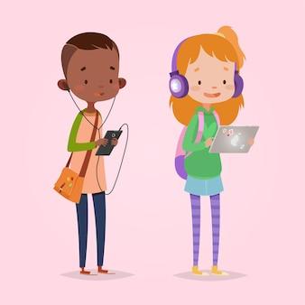 어린이위한 귀여운 벡터 일러스트입니다. 만화 스타일. 격리 된 문자. 아이들을위한 현대 기술. 태블릿 및 헤드폰 소녀입니다. 스마트 폰 및 헤드폰 소년입니다.