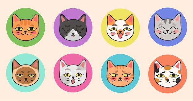 다른 고양이 품종의 귀여운 벡터 삽화. 만화 플랫 스타일로 다른 감정을 가진 귀여운 고양이 초상화 세트.