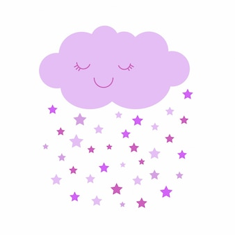 Cute vector illustration of pink smiling cloud with dropping stars.