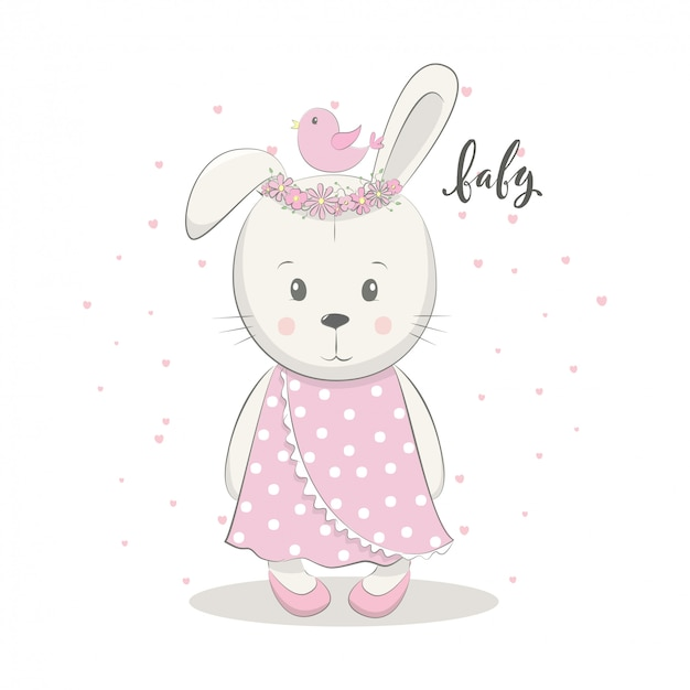 Cute vector illustration with bunny baby