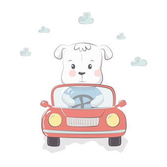 Cute vector illustration with dog baby