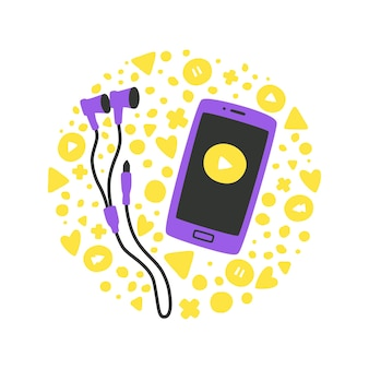 평면 스타일 개념의 전화와 헤드폰이 있는 귀여운 벡터 일러스트레이션은 sm에서 음악을 듣습니다.