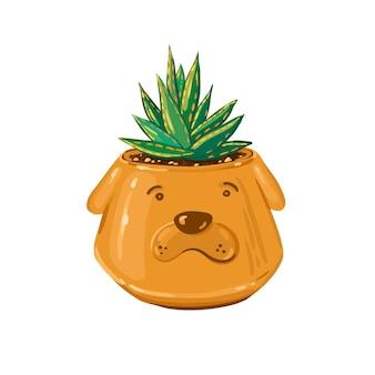 재미있는 세라믹 냄비에 즙이 많은 식물이 있는 귀여운 벡터 일러스트 녹색 알로에 베라 식물