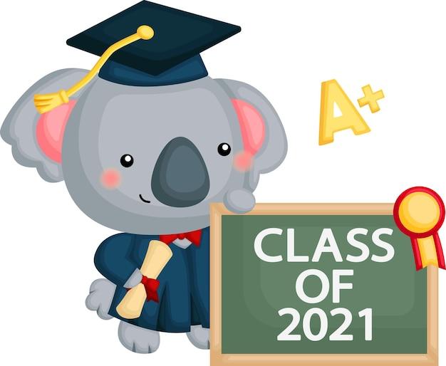 Cute vector of a koala mascot graduating