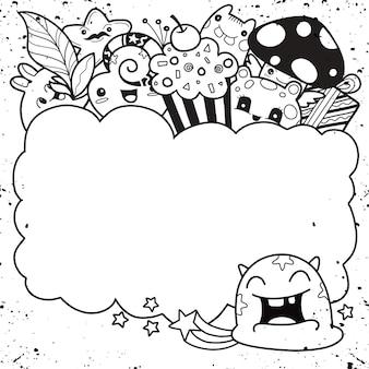 Cute vector monster, blank message board, blank banner.