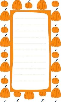 手描きの漫画スタイルのオレンジ色のカボチャを持つ子供のためのかわいいベクトルノートリストテンプレート