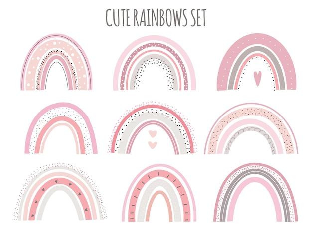 Симпатичные векторные пастельные радуги на белом фоне для печати плакат для детей.