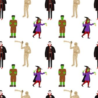 Симпатичные вектор бесшовные модели для хэллоуина с героями в костюмах. ведьма, граф дракула, мумия, франкенштейн.
