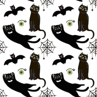 Cute vector seamless pattern for halloween. bat, web and spider, eye other items on halloween theme.