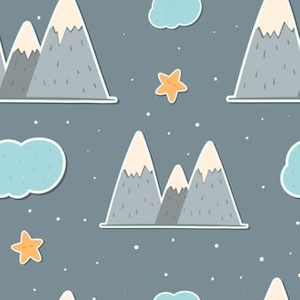 스칸디나비아 스타일의 귀여운 벡터 원활한 패턴입니다. 눈 덮인 봉우리, 구름, 별이 있는 산의 어린이 스티커. 유치한 추세 배경 또는 포장지.