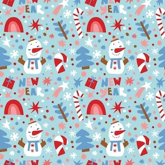 Симпатичные вектор бесшовные модели с рождественскими иллюстрациями.