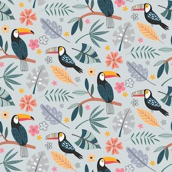 이국적인 새 앵무새 큰부리새와 열대 식물과 함께 귀여운 벡터 원활한 패턴