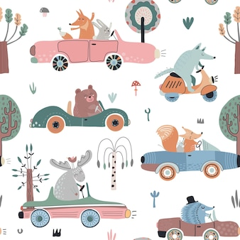 Cute vector seamless pattern with funny forest animals in cars