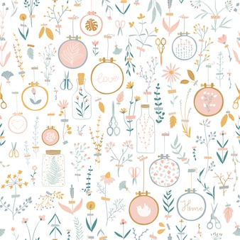 Cute vector seamless pattern with home decor cozy flowers pasted with duct tape.