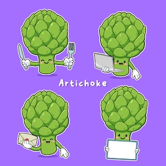 Cute vector set of artichoke character in different action, emotion isolated on purple background