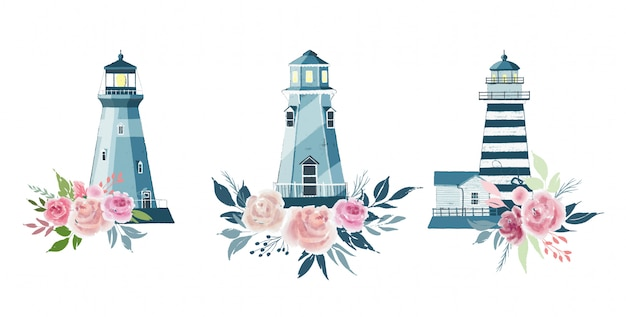 Cute vector set of lighthouses and floral arrangements