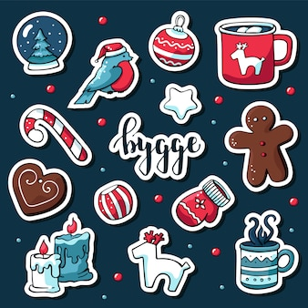 Cute vector set of scandinavian style stickers