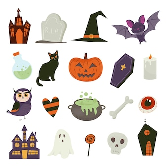 Cute vector set with halloween illustrations pumpkin ghost cat bat lollipop potion bone