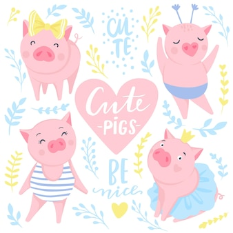 Cute vector stickers with funny pink pigs. symbol of 2019 on the chinese calendar. pig illustration isolated on white. for posters, banners, postcards, kids badges. style of comics, cartoons.