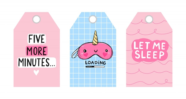 Cute vector tags with sleep mask and quotes. vector cards collection. unicorn blindfold. labels