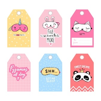 수면 마스크와 따옴표가있는 귀여운 벡터 태그. 벡터 카드 컬렉션입니다. 아이 마스크와 수면 문구가있는 라벨