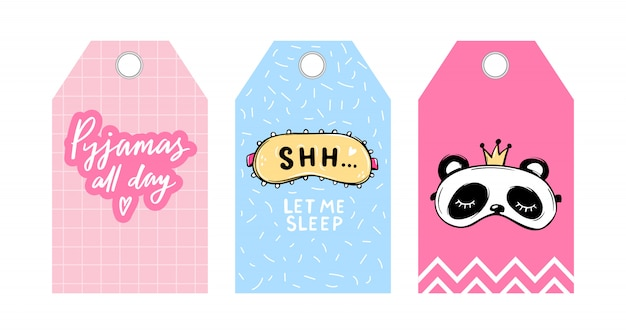 Cute vector tags with sleep masks and quotes. vector cards collection. blindfold classic and panda shaped. labels with eye masks