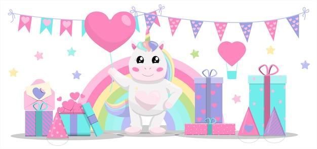 풍선 초대장이 있는 귀여운 벡터 유니콘은 어린이를 위한 선물 화환과 과자 세트를 파티에 초대합니다.