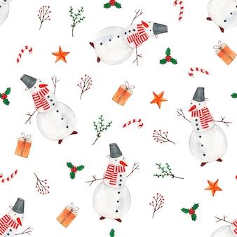 Симпатичные векторные акварель рождественские элементы шаблона