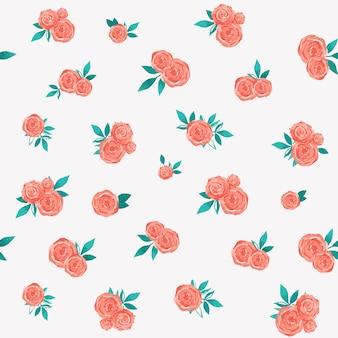 小さなバラとかわいいベクトル水彩パターン