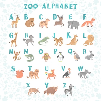 Cute vector zoo alphabet. funny cartoon animals. letters
