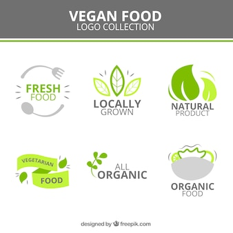 Cute vegan food logotypes
