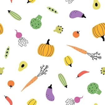 かわいい野菜の背景。手描きのシームレスなパターン