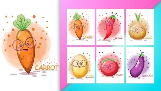 かわいい野菜のイラストセットとポスター。