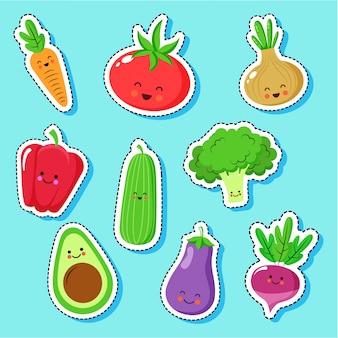Cute vegetables cartoons characters