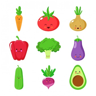 Cute vegetables cartoons characters