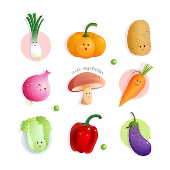 Cute vegetables characters
