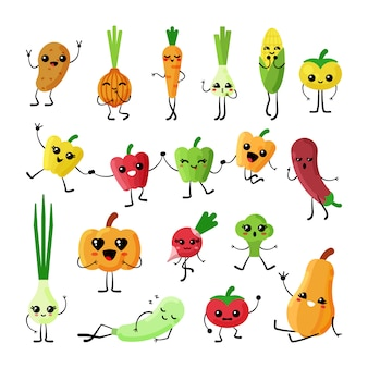 Cute vegetables kawaii flat characters  set