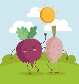Cute vegetables in landscape