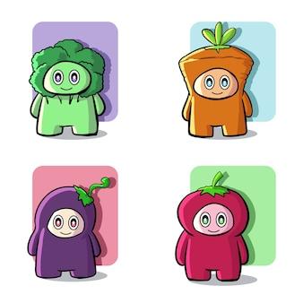Симпатичные овощи талисман иллюстрации набор