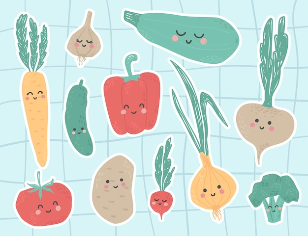 Cute vegetables stickers with faces and funny characters. broccoli, garlic, onions, zucchini, tomato, cucumber, potatoes, turnips, carrots, peppers, radishes food. ready for print, perfect for nurser