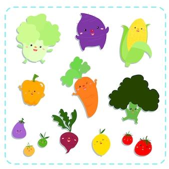 Cute vegetables vector pack