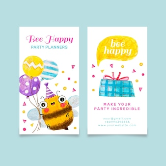 Cute vertical double sided business card with bee