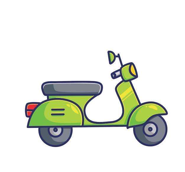귀여운 베스파 오토바이 오토바이 그린 색상. 만화 개체 개념 격리 된 그림입니다. 스티커 아이콘 디자인 프리미엄 로고 벡터에 적합한 플랫 스타일